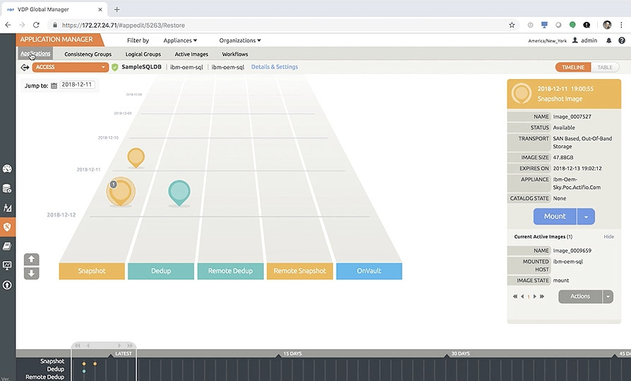 Screenshot of testing and developing virtual data copies with IBM InfoSphere Virtual Data Pipeline