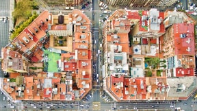 Overhead view of city blocks