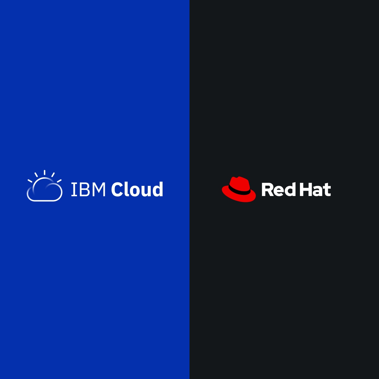 Los logotipos de IBM y Red Hat para Watson Anywhere