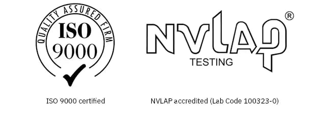 ISO 9000 and NVLAP logos