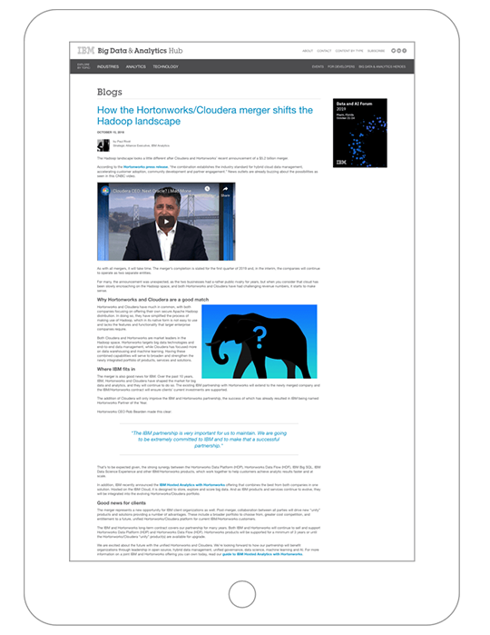 Thumbnail of a blog on the merger of Cloudera and Hortonworks