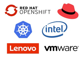 group of logos including Red Hat, Intel and others
