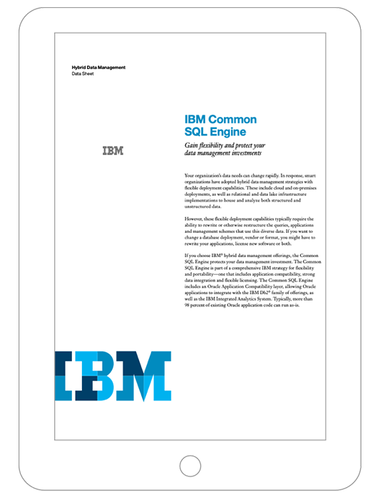 A data sheet on IBM Common SQL Engine