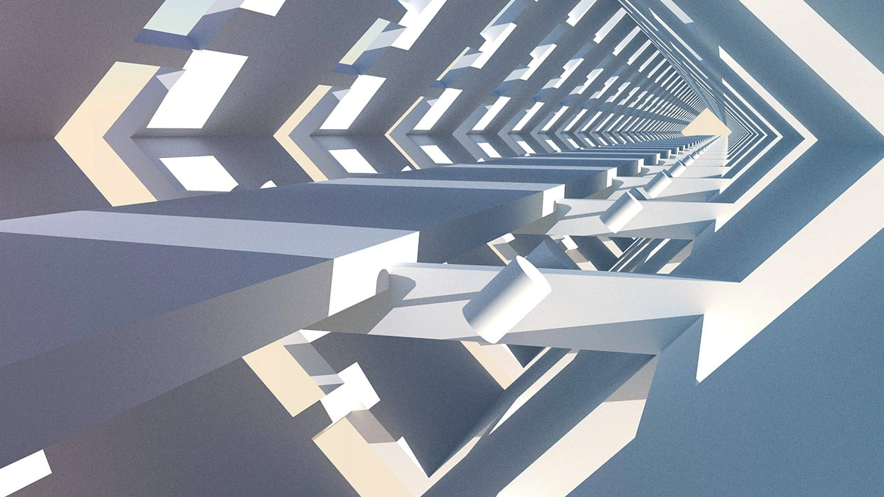 abstract image with 3d shapes on a infinite background