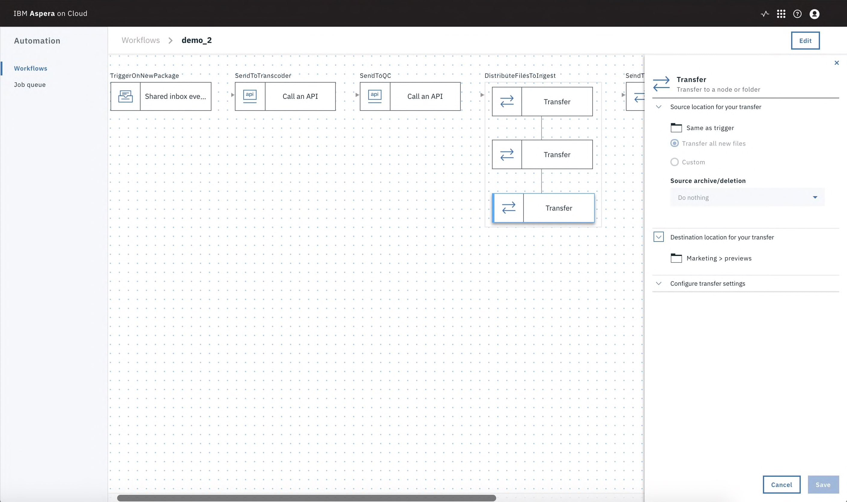 Screen capture illustrating transcode and upload files to the cloud using Aspera on Cloud