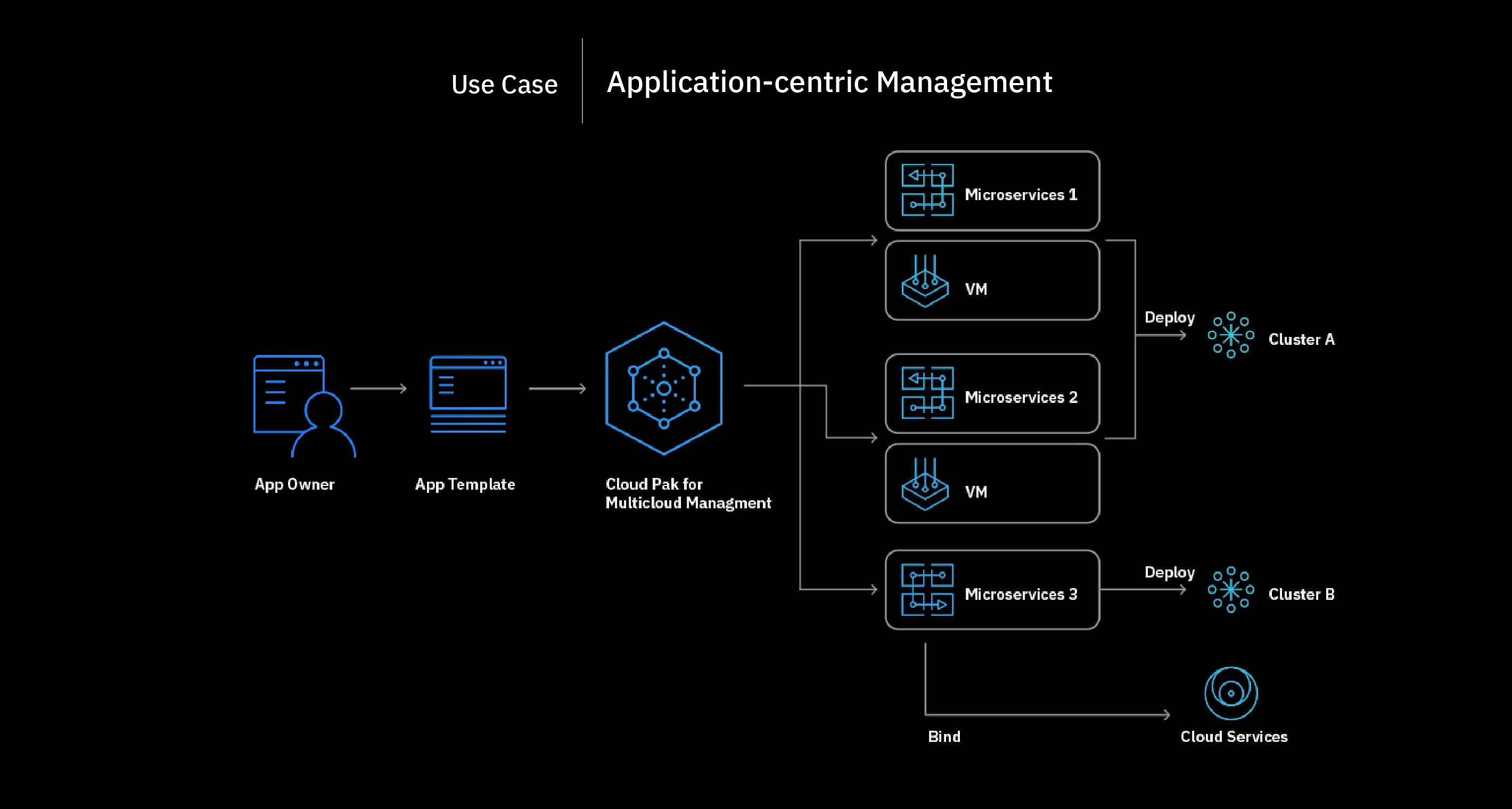 Flowchart showing the application-centric management process