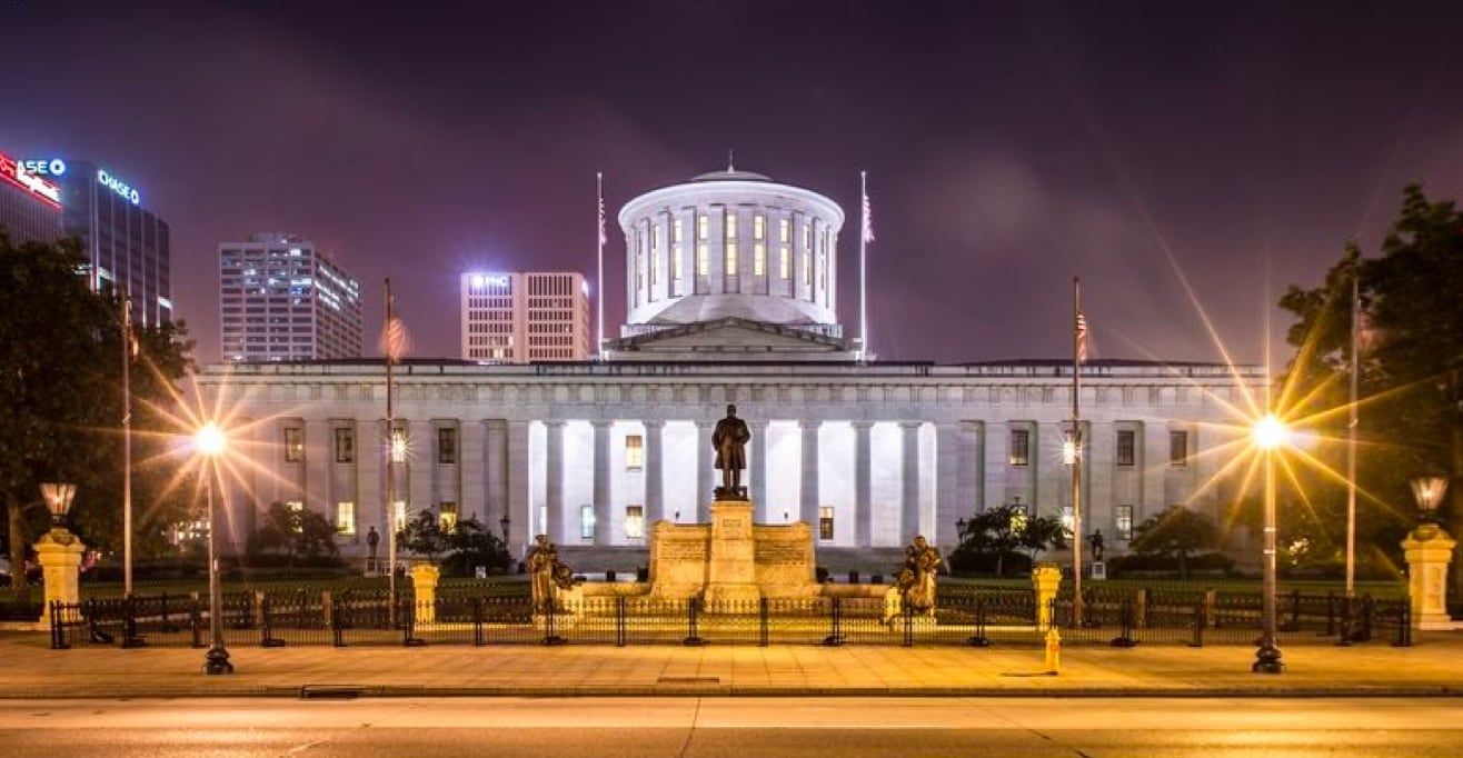 Ohio Statehouse; capitol building of Ohio at night