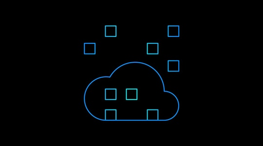 Cloud icon with overlapping squares