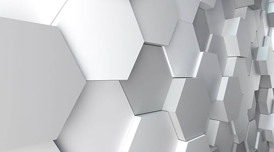 Abstract with white hexagons