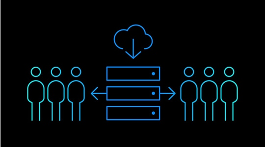 Icon with three individuals on each side of servers connected by cloud