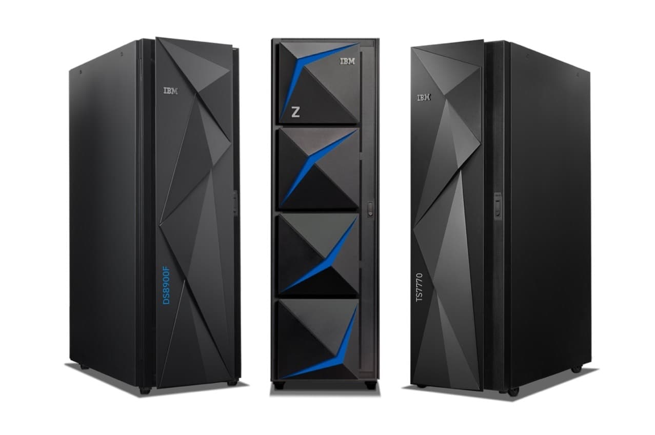 The IBM Z15 mainframe, Storage DS8900F and Storage TS7770 products all together