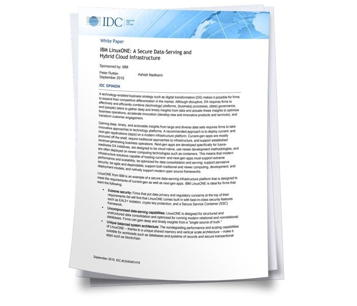 Cover of IDC Paper with title IBM LinuxOne A Secure Data Serving And Hybrid Cloud Infrastructure