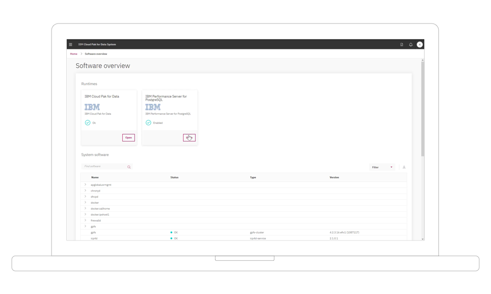 Captura de tela do vídeo sobre o IBM Performance Server