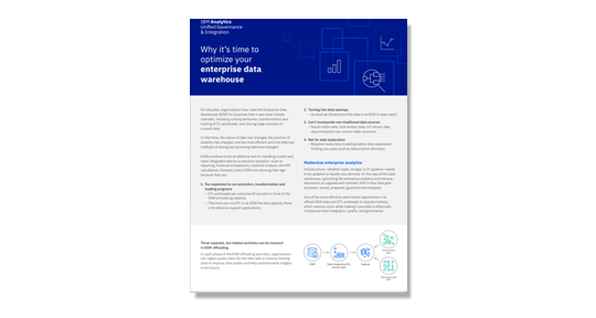 The cover page of the Why it's time to optimize your enterprise data warehouse flyer