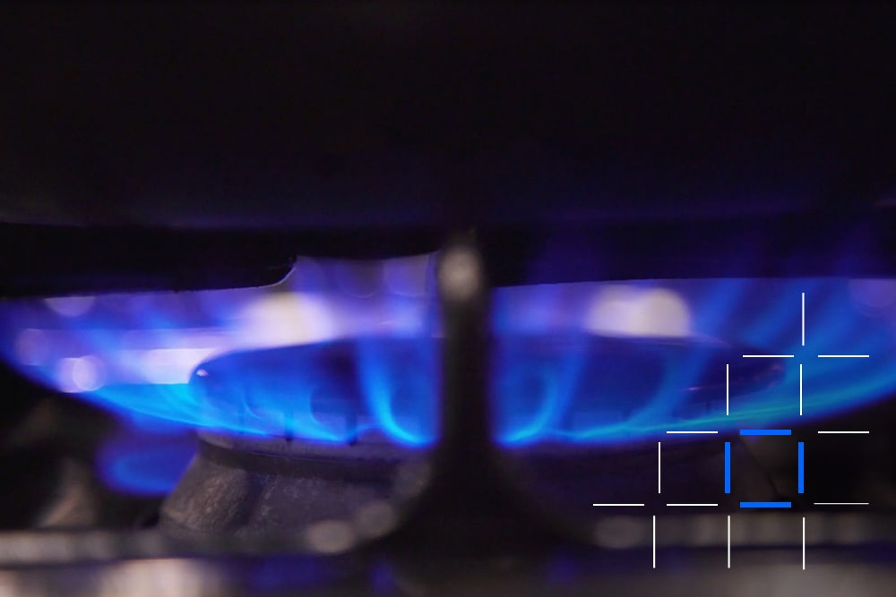 Flames of one gas stove