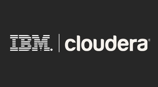 A combined graphic showing the IBM logo with the Cloudera logo