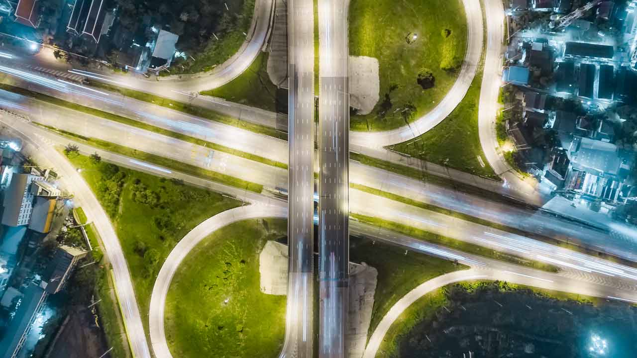 Bird's eye view of a well lit highway