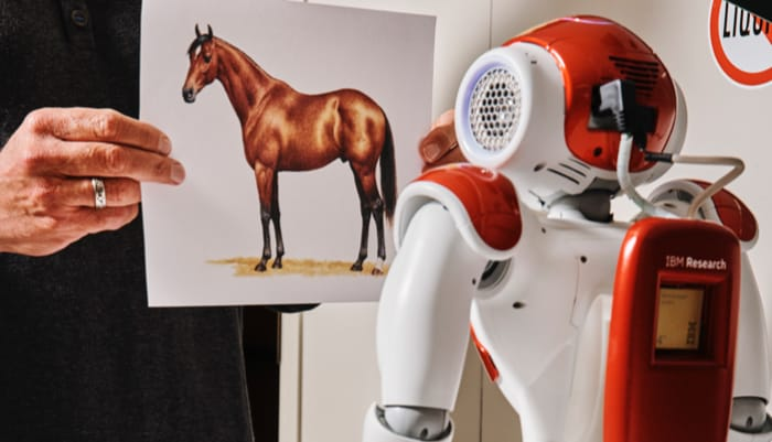 a robot looking at a horse picture