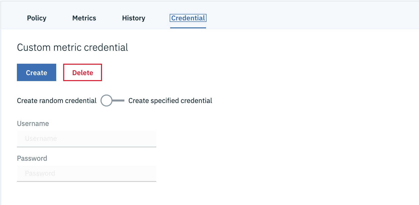 After clicking the Create button, a JSON credential will be displayed on the same page.
