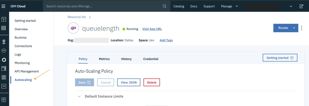 The first step is to configure the autoscaling policy for the application. Once you push your code as a Cloud Foundry application on IBM Cloud, you can find an Autoscaling tab when checking the application details.
