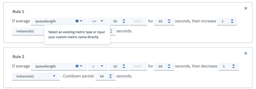 When creating a policy on the Autoscaling tab, you will see that the previous Metric drop-down list is now changed to an input box that allows you to input the desired metric name and save the policy configuration.