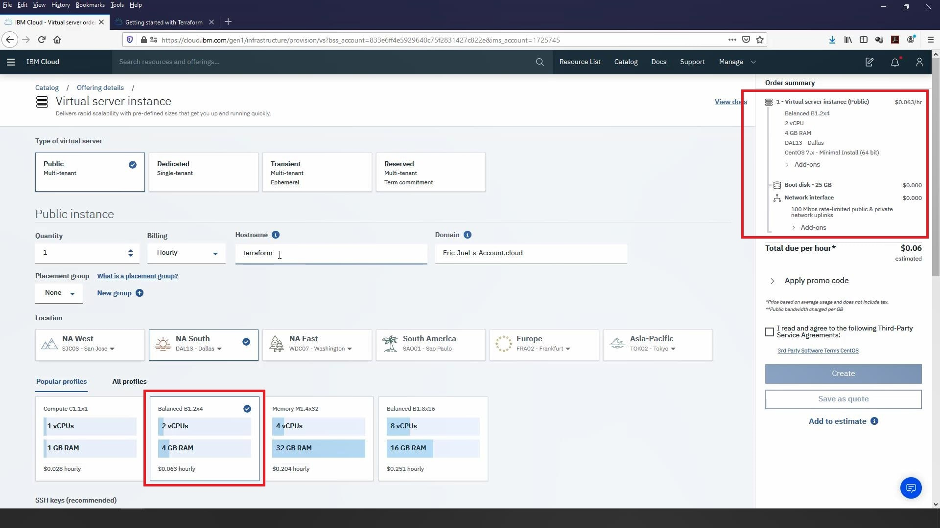 Log into your IBM Cloud account and provision a new VSI with the following specifications: