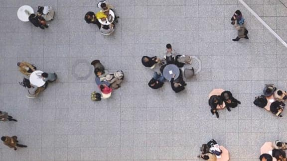 Top down view of a coffe break area