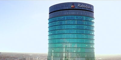 Exterior view of circular Rabobank office building in daylight
