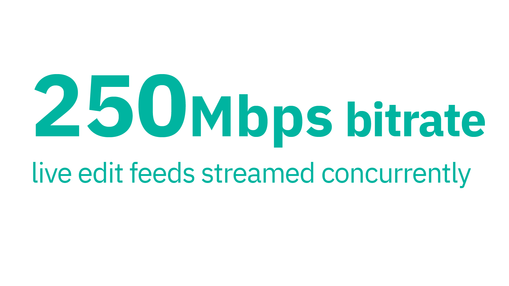 250 Mbps bitrate live edit feeds streamed concurrently