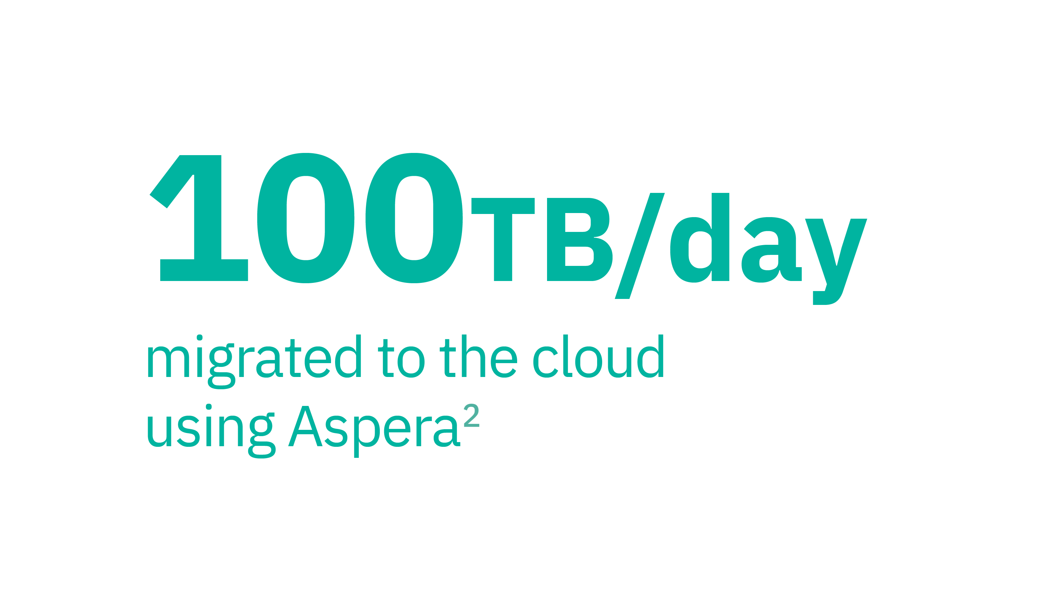 100 TB/day migrated to the cloud using Aspera