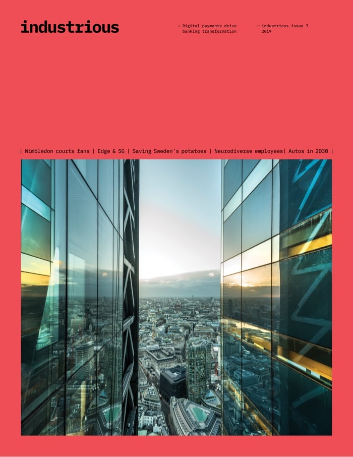 Cover of Industrious issue 7 showing a city skyline