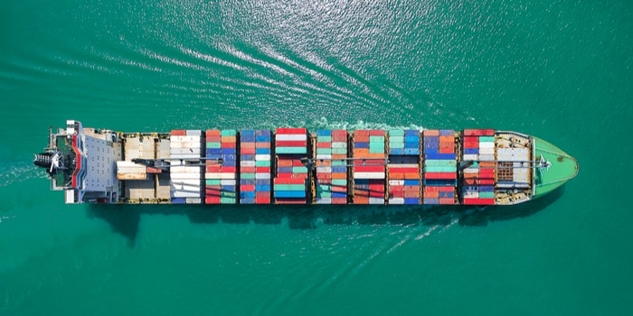 Top view of a cargo ship on the sea