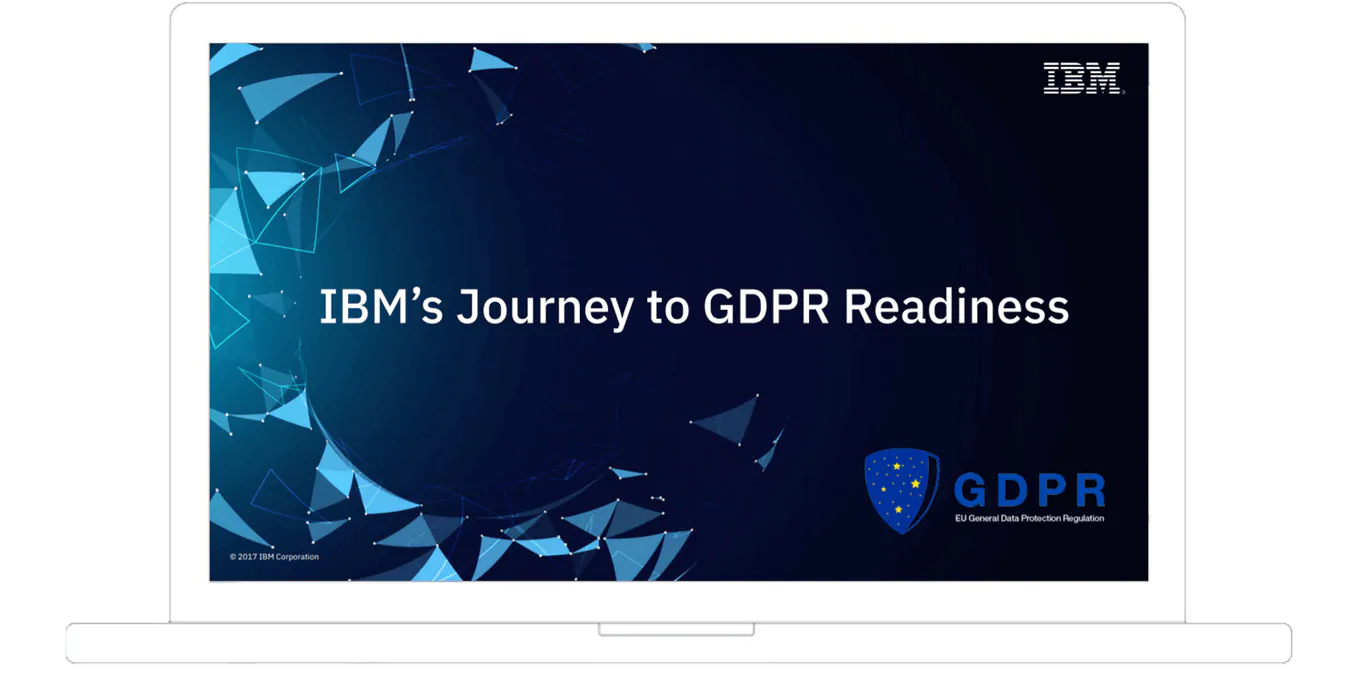 ebook cover from IBM's journey to GDPR readiness shown on device