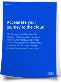 Dark blue over image of Solution brief paper with title Accelerate your journey to the cloud