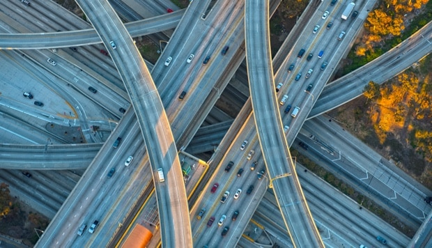Complex freeway interchange representing IBM Storage case study for  System Design Analysis, Inc.