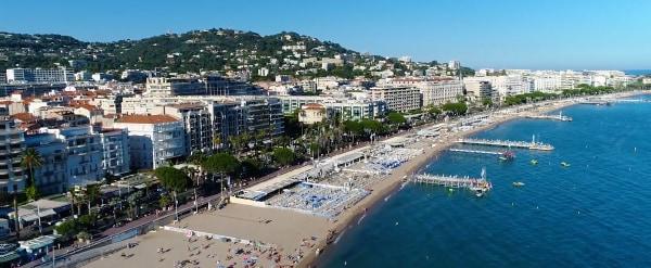 Cannes beach aerial view