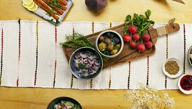 Image of fresh vegetables on a kitchen table