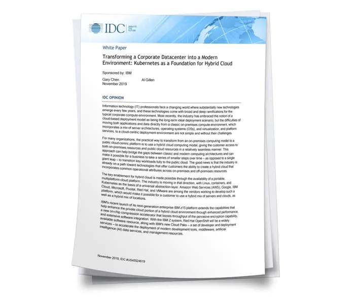 IDC report Kubernetes as a foundation for cloud