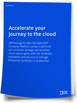 Blue color image of cover of solution brief titled Accelerate your journey to the cloud
