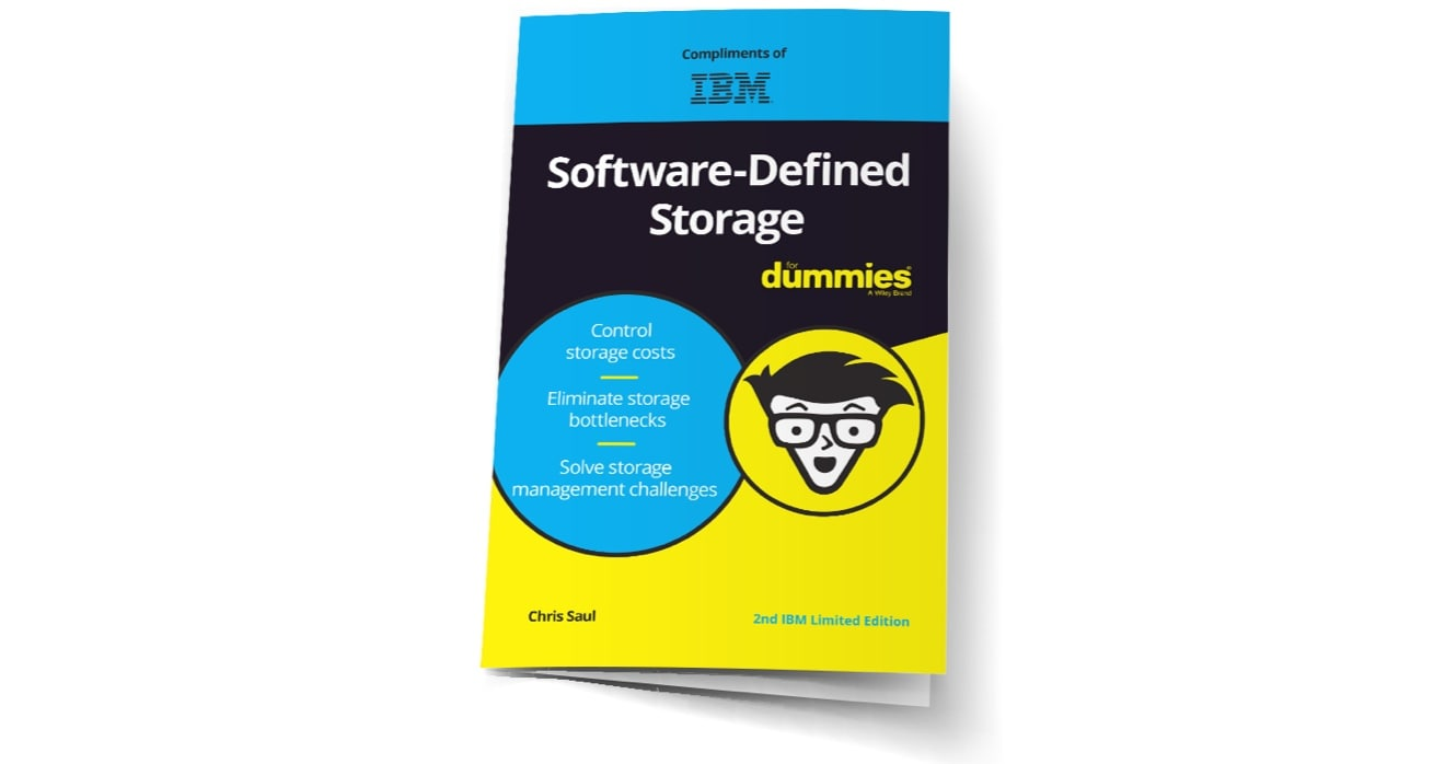 black, blue and yellow cover of Software-defined Storage for Dummies