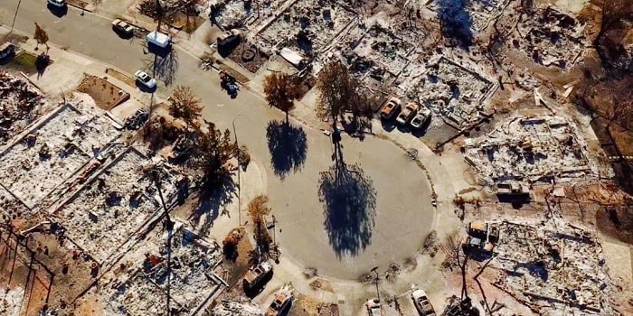 Aerial view of devastation from fire disaster