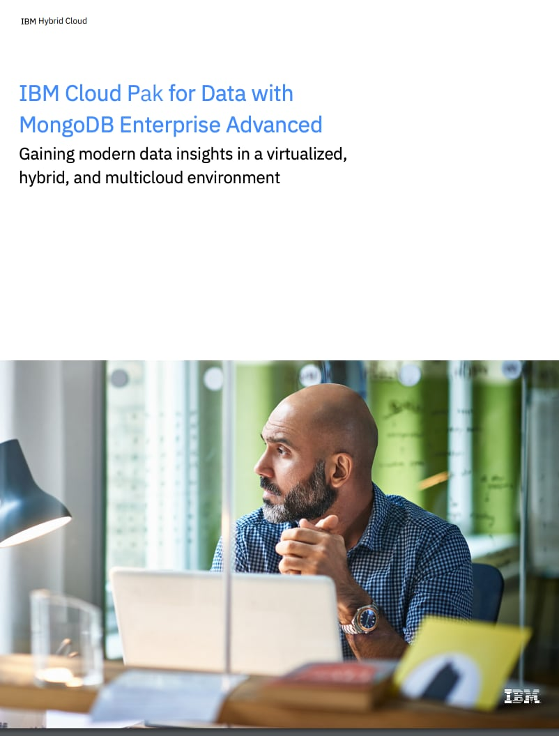 Cover thumbnail of the solution brief on IBM Cloud Pak for Data with MongoDB Enterprise Advanced