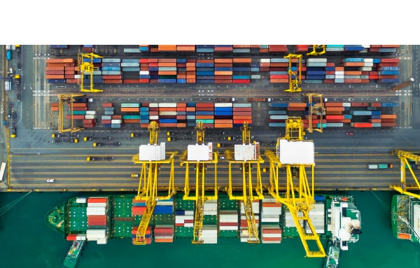 aerial view of a seaport full of containers