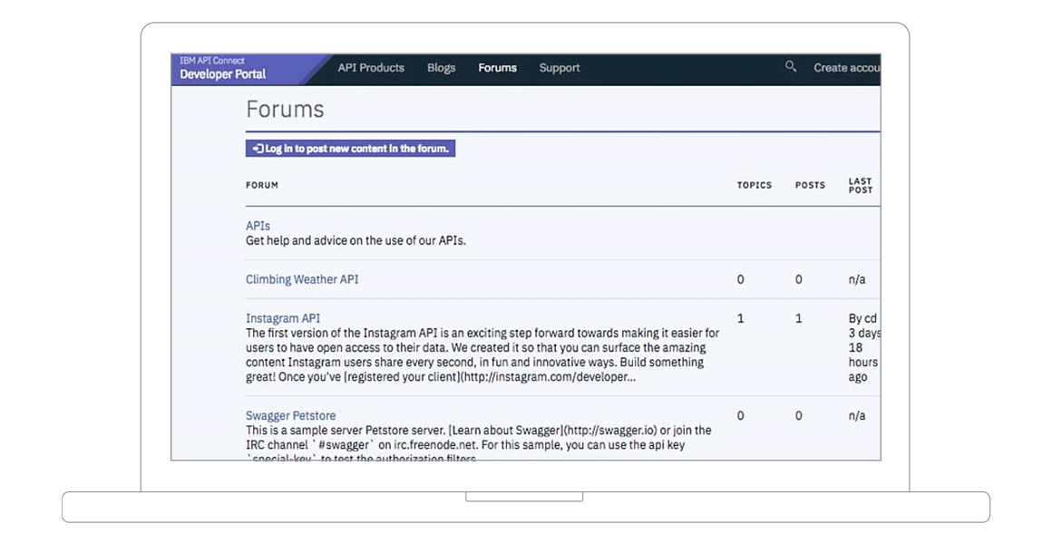 screenshot of forums available on developer portal