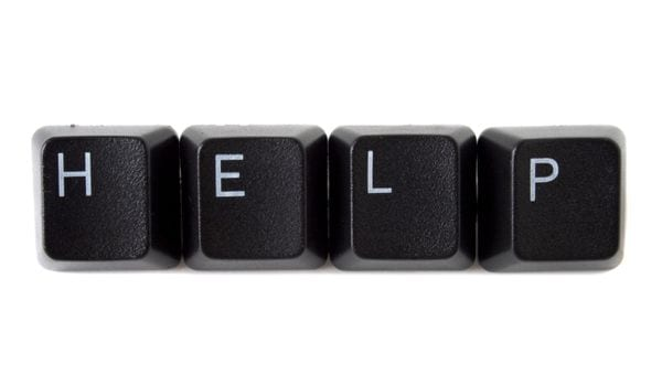 Help spelled out on keys