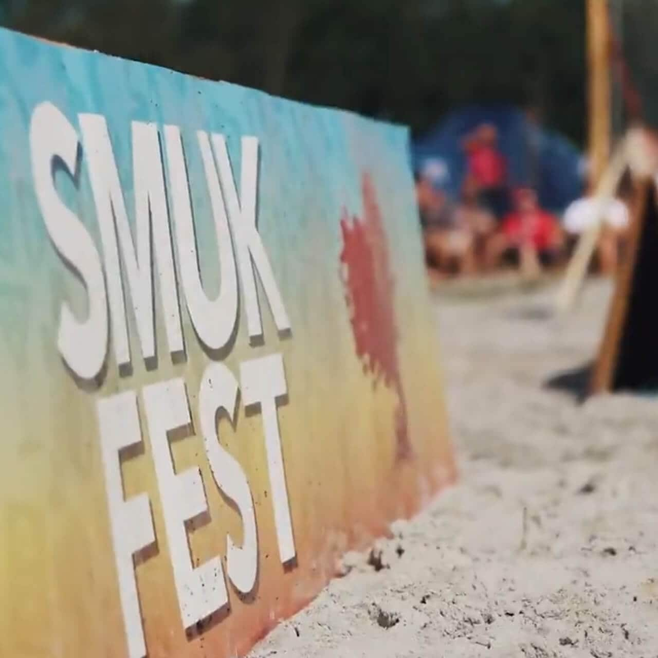 Printed sign promoting Smuk Fest event