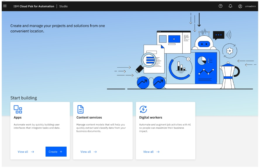 ibm business automation studio homepage screen shot
