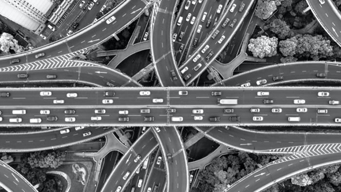 Top view of multiple highway bridges
