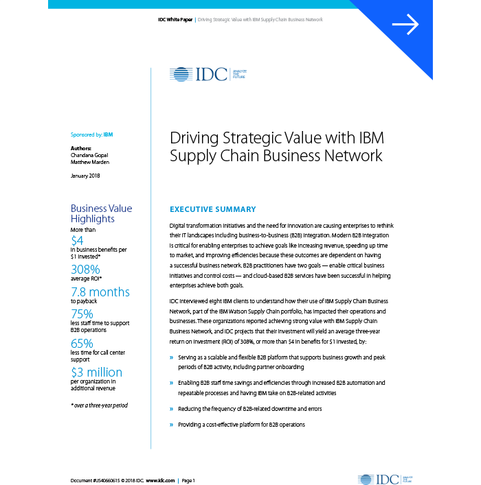 Un documento técnico que resalta el valor estratégico de IBM Supply Chain Business Network