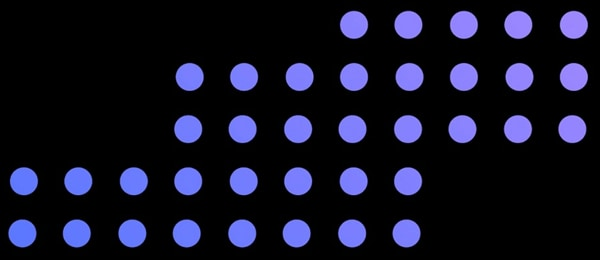 dots in stair pattern